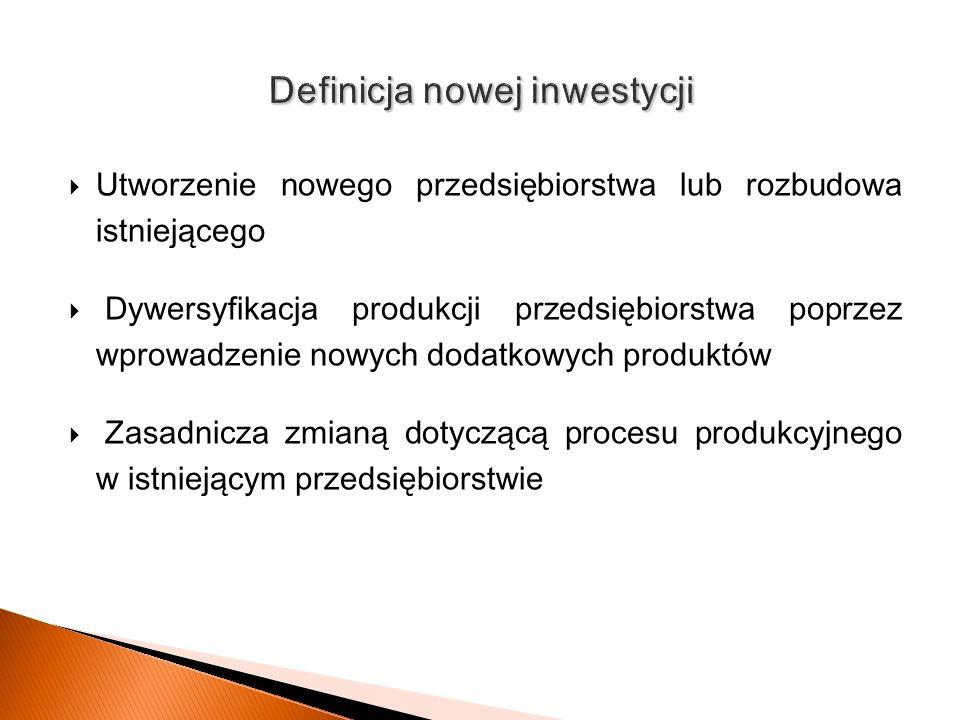Utworzenie nowego przedsiębiorstwa lub rozbudow a istniejącego Dywersyfikacj a produkcji przedsiębiorstwa poprzez wprowadzenie nowych dodatkowych prod