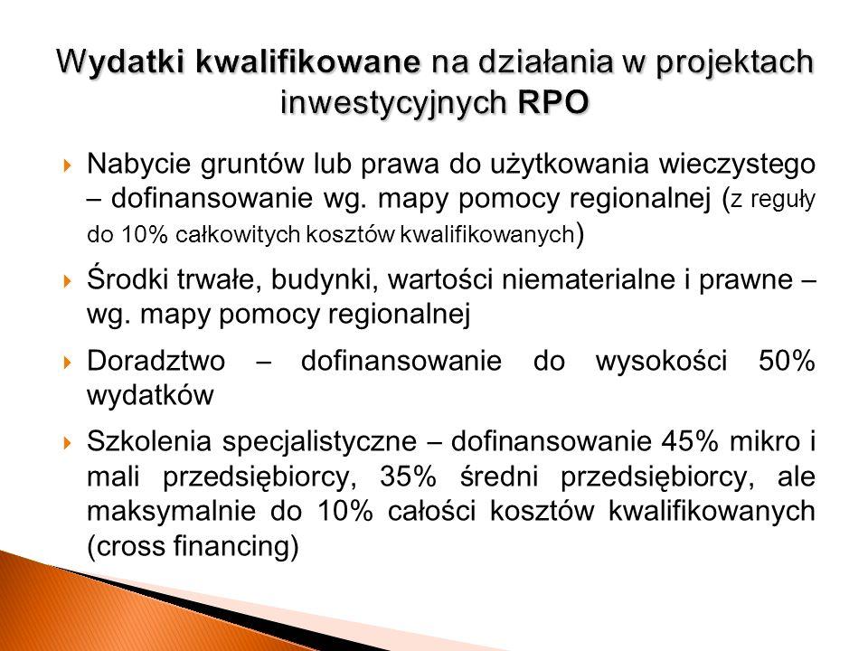 Nabycie gruntów lub prawa do użytkowania wieczystego – dofinansowanie wg. mapy pomocy regionalne j ( z reguły do 10% całkowitych kosztów kwalifikowany