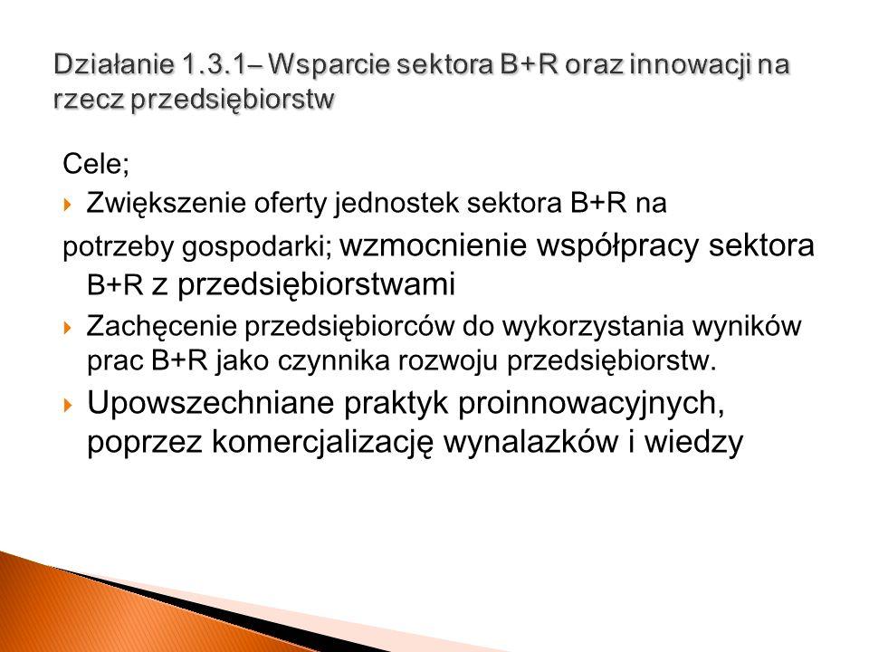 Cele; Zwiększenie oferty jednostek sektora B+R na potrzeby gospodarki; wzmocnienie współpracy sektora B+R z przedsiębiorstwami Zachęcenie przedsiębior