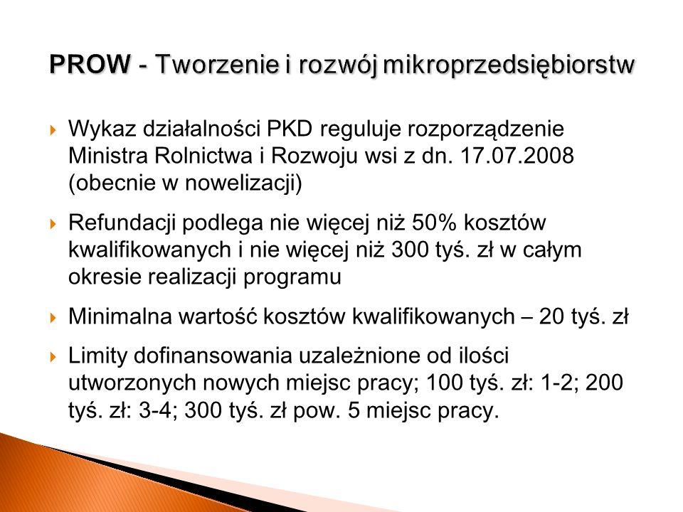 Wykaz działalności PKD reguluje rozporządzenie Ministra Rolnictwa i Rozwoju wsi z dn. 17.07.2008 (obecnie w nowelizacji) Refundacji podlega nie więcej