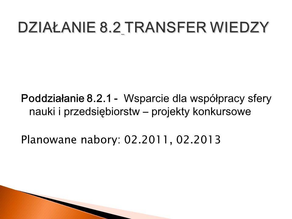 Poddziałanie 8.2.1 - Wsparcie dla współpracy sfery nauki i przedsiębiorstw – projekty konkursowe Planowane nabory: 02.2011, 02.2013