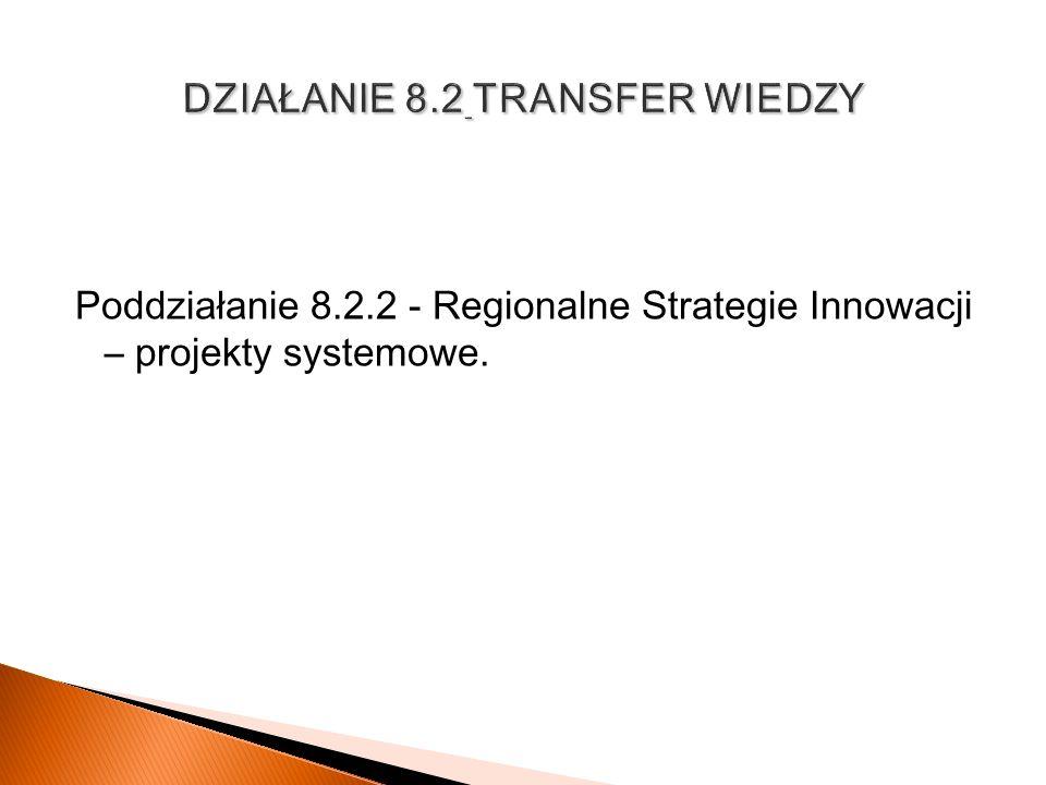 Poddziałanie 8.2.2 - Regionalne Strategie Innowacji – projekty systemowe.