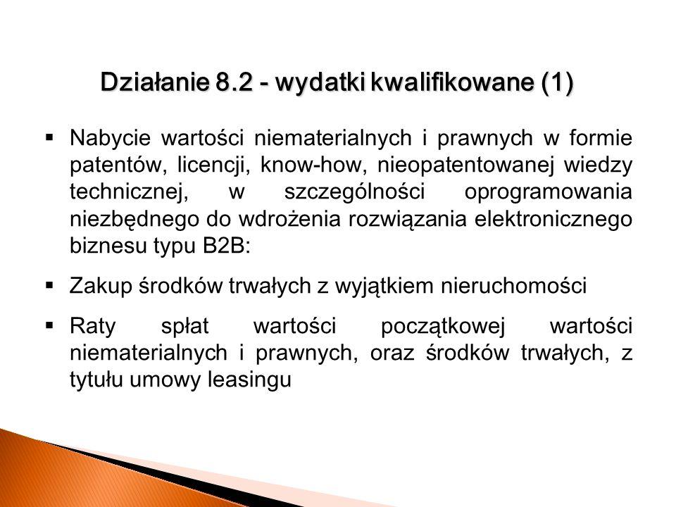 Działanie 8.2 - wydatki kwalifikowane (1) N abycie wartości niematerialnych i prawnych w formie patentów, licencji, know-how, nieopatentowanej wiedzy