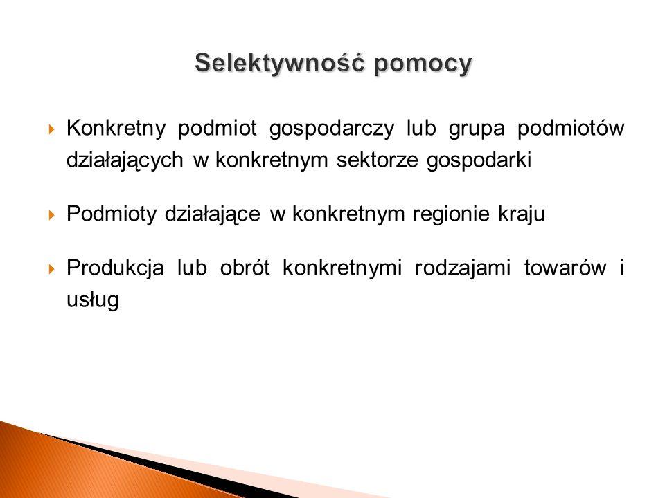 Konkretny podmiot gospodarczy lub grupa podmiotów działających w konkretnym sektorze gospodarki Podmioty działające w konkretnym regionie kraju Produk