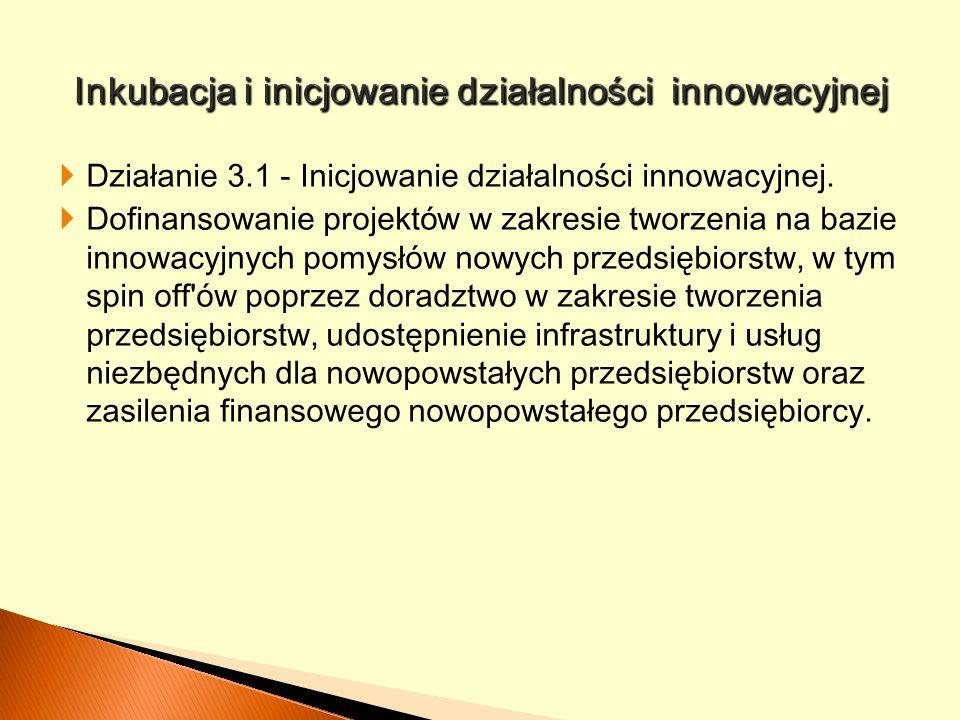 Działanie 3.1 - Inicjowanie działalności innowacyjnej. Dofinansowanie projekt ów w zakresie tworzenia na bazie innowacyjnych pomysłów nowych przedsięb