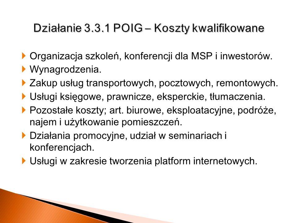 Organizacja szkoleń, konferencji dla MSP i inwestorów. Wynagrodzenia. Zakup usług transportowych, pocztowych, remontowych. Usługi księgowe, prawnicze,