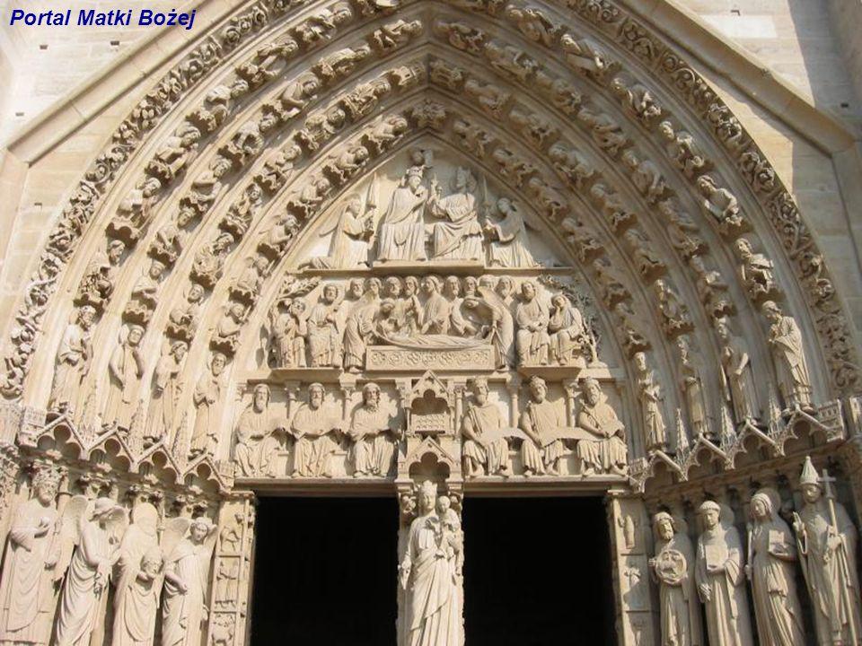 Portal lewy Matki Bożej Portal prawy Świętej Anny Wejście do Katedry Plac du Parvis Katedra Notre-Dame Główna Fasada Portal środkowy Sądu Ostatecznego
