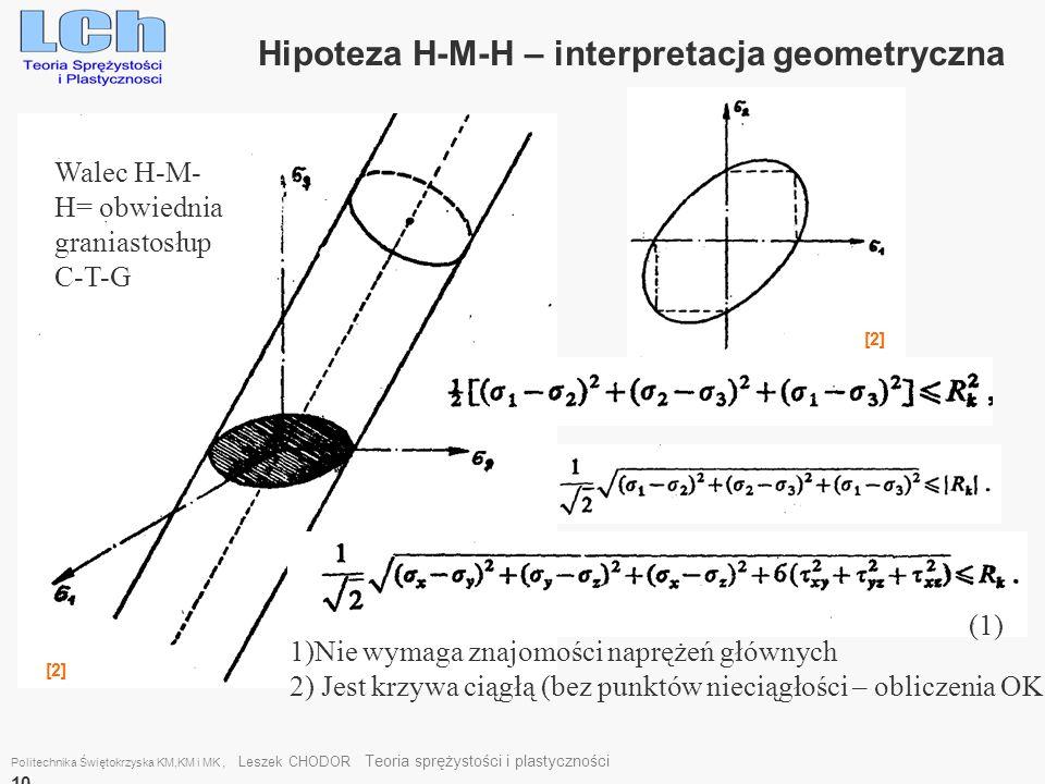 Politechnika Świętokrzyska KM,KM i MK, Leszek CHODOR Teoria sprężystości i plastyczności 10 Hipoteza H-M-H – interpretacja geometryczna Walec H-M- H=