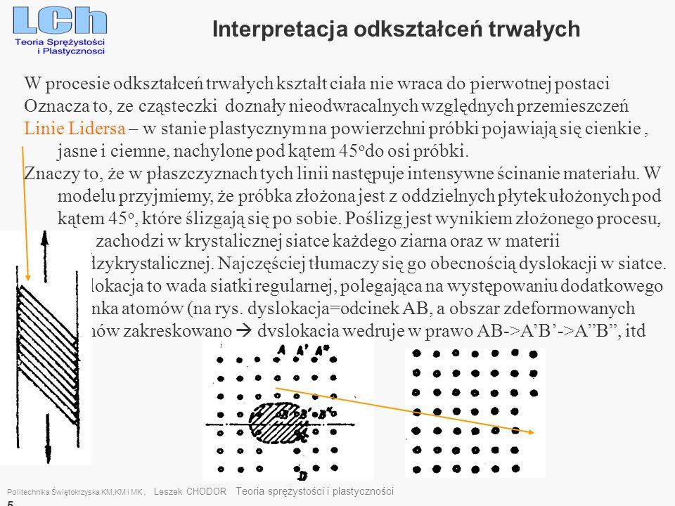 W procesie odkształceń trwałych kształt ciała nie wraca do pierwotnej postaci Oznacza to, ze cząsteczki doznały nieodwracalnych względnych przemieszcz