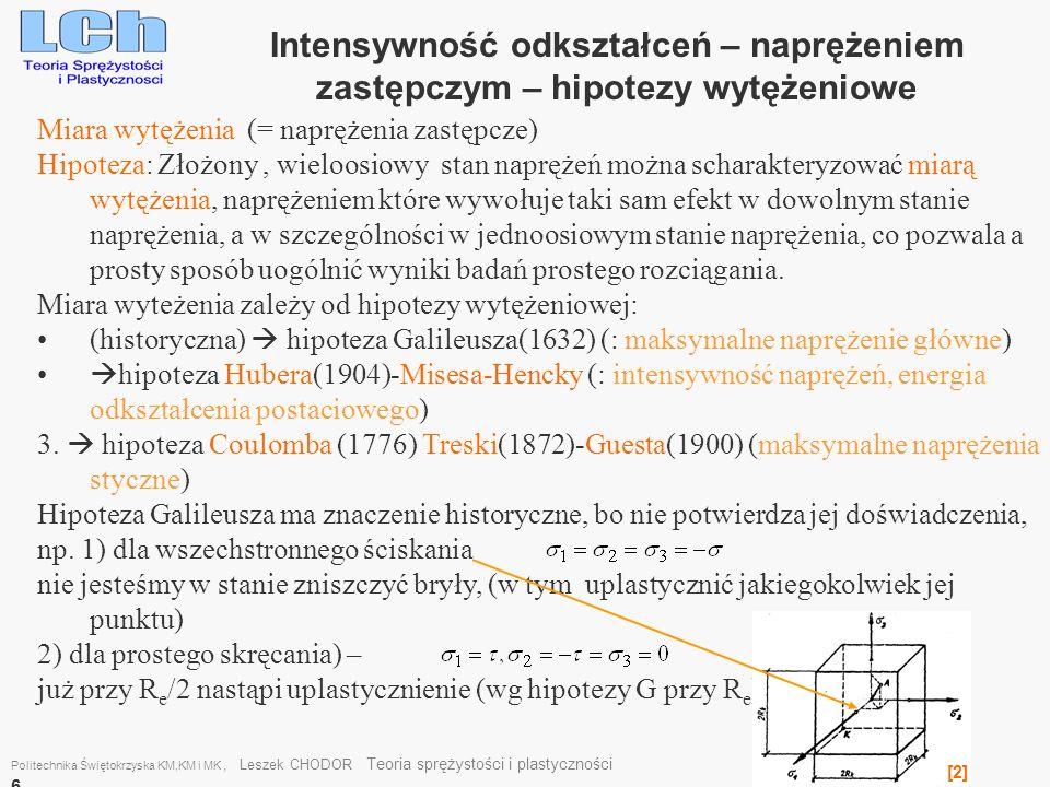Miara wytężenia (= naprężenia zastępcze) Hipoteza: Złożony, wieloosiowy stan naprężeń można scharakteryzować miarą wytężenia, naprężeniem które wywołu