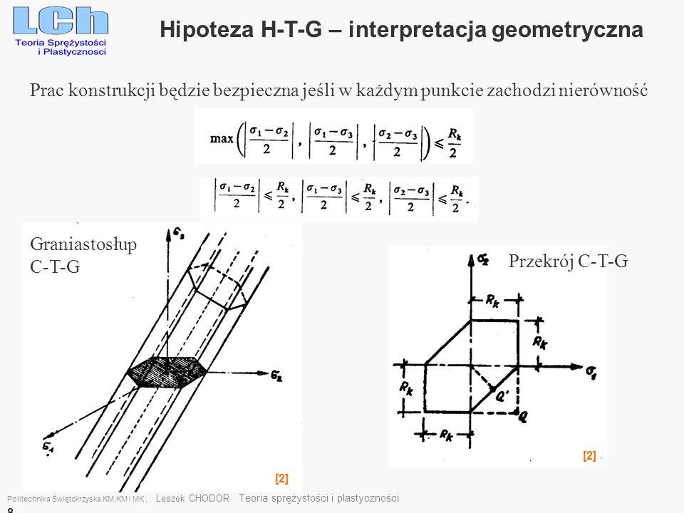 Politechnika Świętokrzyska KM,KM i MK, Leszek CHODOR Teoria sprężystości i plastyczności 8 Hipoteza H-T-G – interpretacja geometryczna Prac konstrukcj