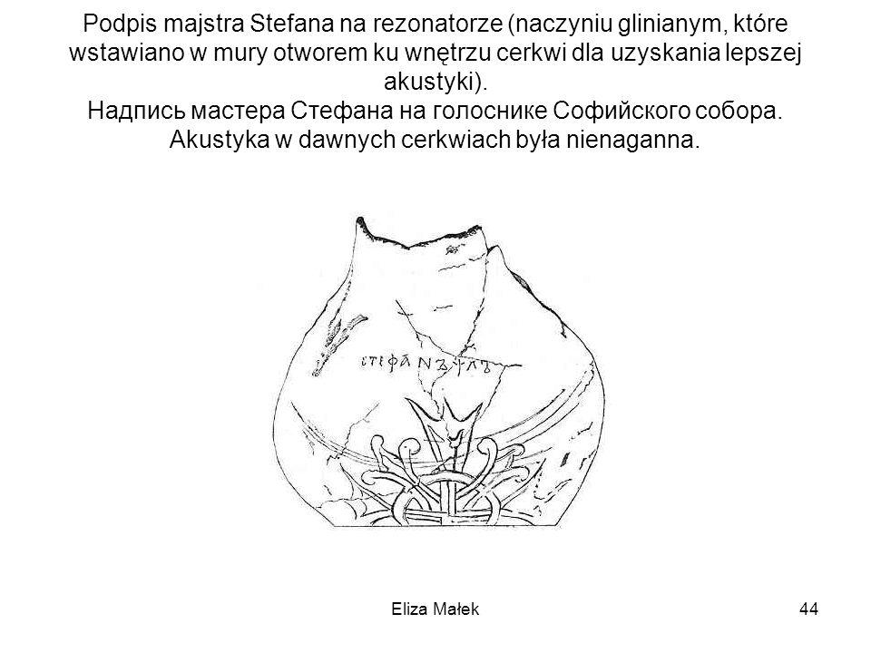 Podpis majstra Stefana na rezonatorze (naczyniu glinianym, które wstawiano w mury otworem ku wnętrzu cerkwi dla uzyskania lepszej akustyki). Надпись м