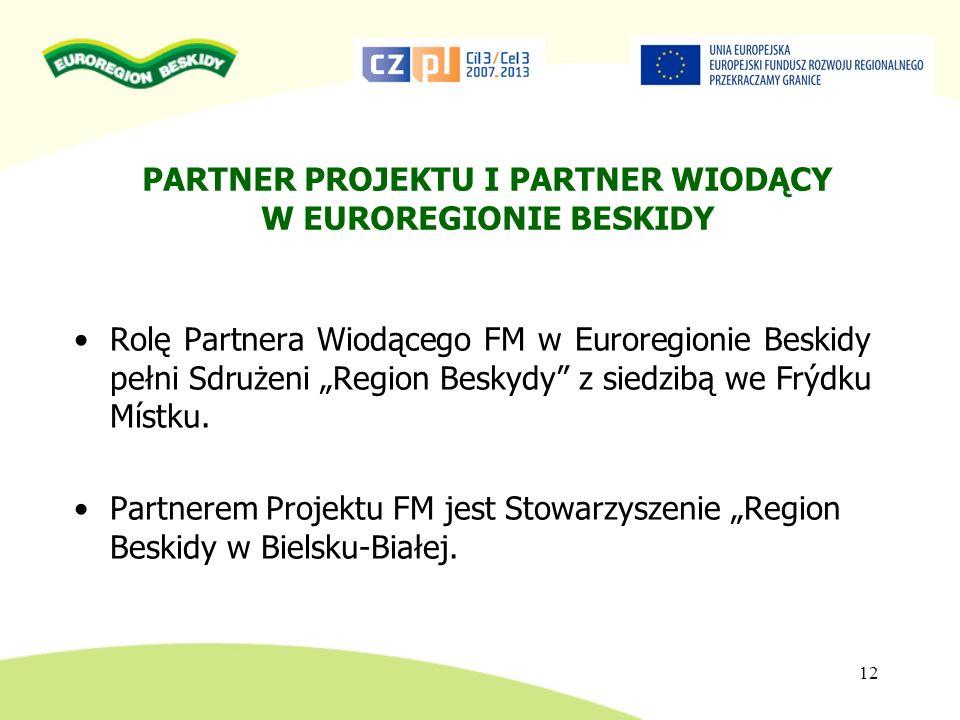 PARTNER PROJEKTU I PARTNER WIODĄCY W EUROREGIONIE BESKIDY Rolę Partnera Wiodącego FM w Euroregionie Beskidy pełni Sdrużeni Region Beskydy z siedzibą w
