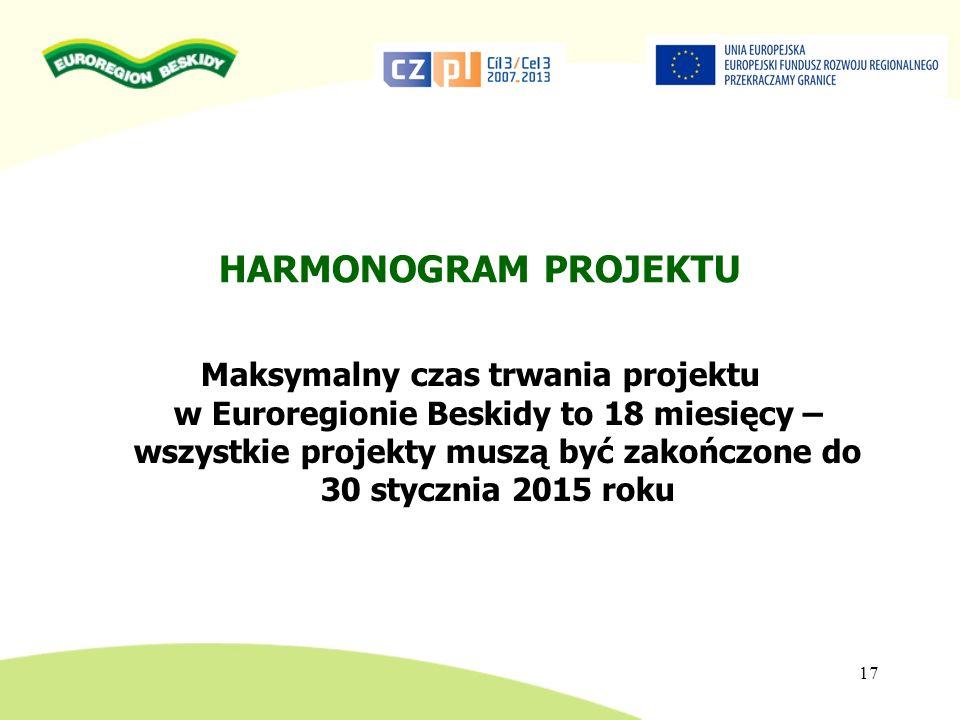 HARMONOGRAM PROJEKTU Maksymalny czas trwania projektu w Euroregionie Beskidy to 18 miesięcy – wszystkie projekty muszą być zakończone do 30 stycznia 2