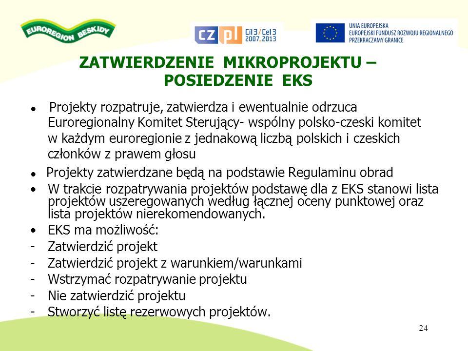 24 ZATWIERDZENIE MIKROPROJEKTU – POSIEDZENIE EKS Projekty rozpatruje, zatwierdza i ewentualnie odrzuca Euroregionalny Komitet Sterujący- wspólny polsk