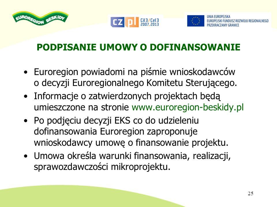 PODPISANIE UMOWY O DOFINANSOWANIE Euroregion powiadomi na piśmie wnioskodawców o decyzji Euroregionalnego Komitetu Sterującego. Informacje o zatwierdz