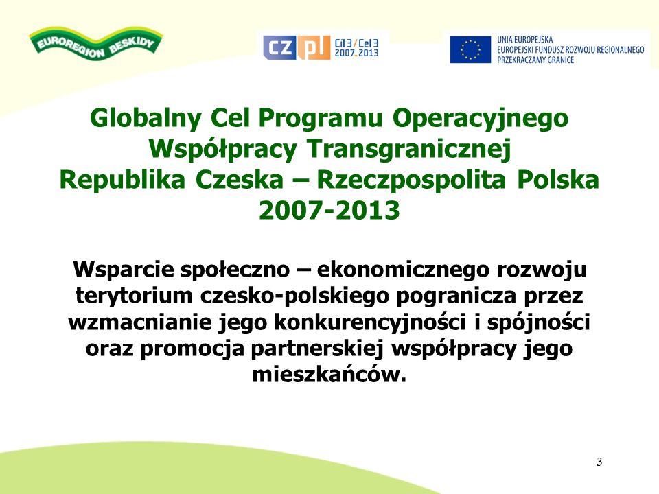 Globalny Cel Programu Operacyjnego Współpracy Transgranicznej Republika Czeska – Rzeczpospolita Polska 2007-2013 Wsparcie społeczno – ekonomicznego ro