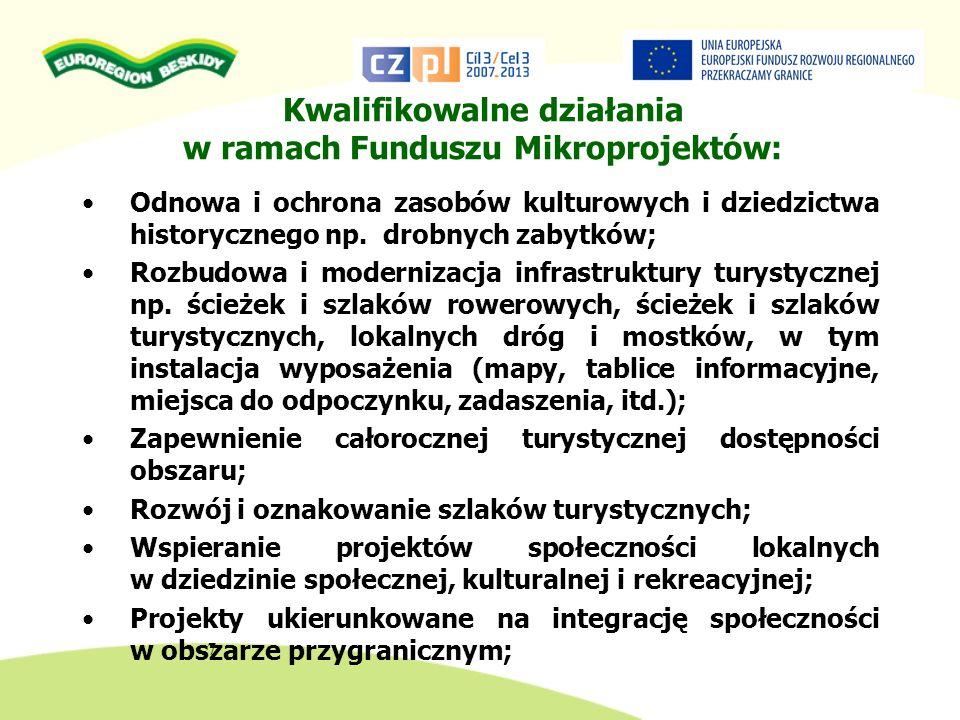 Kwalifikowalne działania w ramach Funduszu Mikroprojektów: Odnowa i ochrona zasobów kulturowych i dziedzictwa historycznego np. drobnych zabytków; Roz