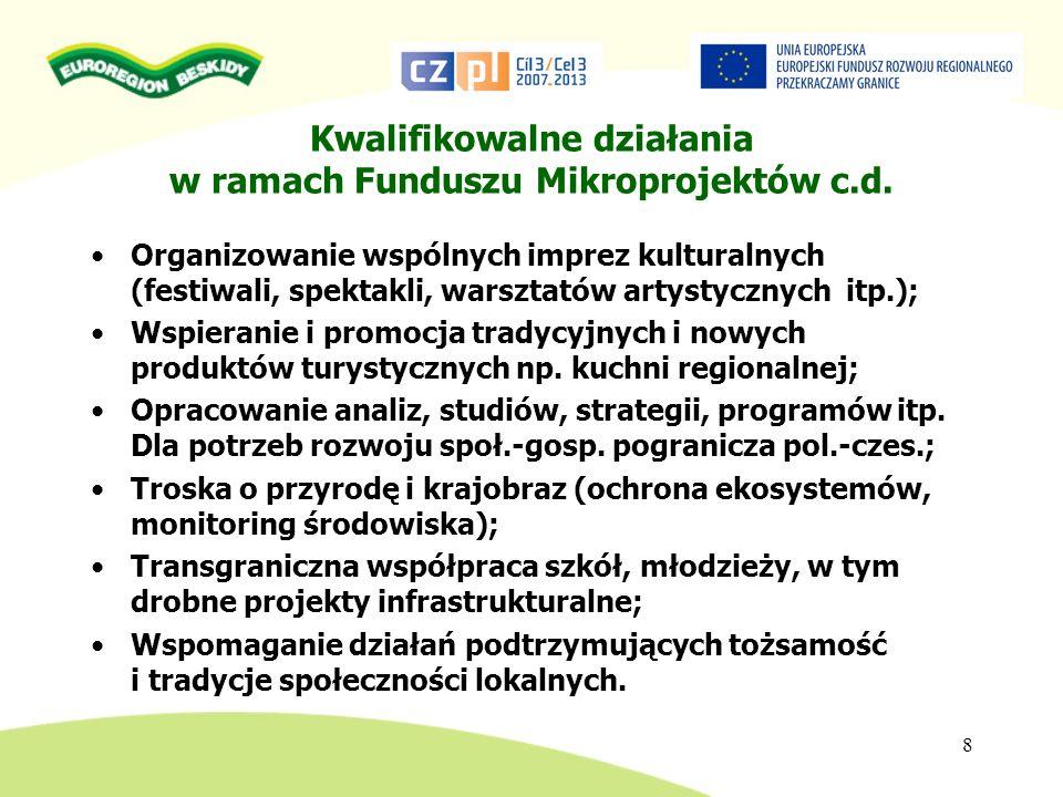 ALOKACJA W RAMACH POWT RCz-RP Fundusz Mikroprojektów 43.891.869 EUR ALOKACJA PRZYJĘTA dla polskiej części EUROREGIONU BESKIDY : 2.002.489 EUR na mikroprojekty z EFRR Kwota wykorzystana w I naborze: 190.180,22 EUR z EFRR 9