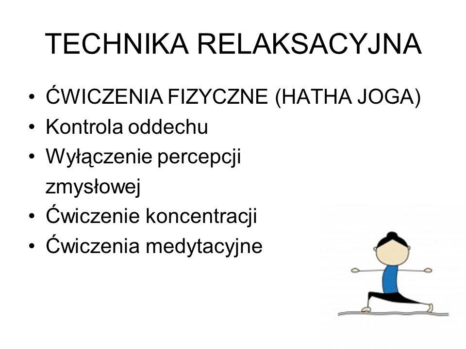 TECHNIKA RELAKSACYJNA ĆWICZENIA FIZYCZNE (HATHA JOGA) Kontrola oddechu Wyłączenie percepcji zmysłowej Ćwiczenie koncentracji Ćwiczenia medytacyjne