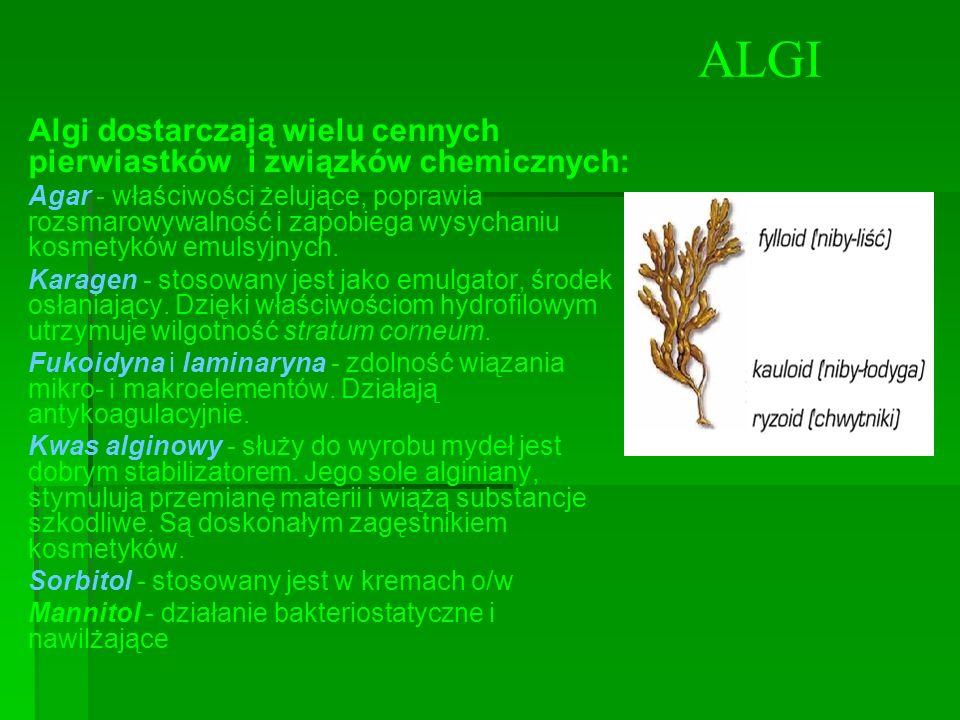 ALGI Algi dostarczają wielu cennych pierwiastków i związków chemicznych: Agar - właściwości żelujące, poprawia rozsmarowywalność i zapobiega wysychani