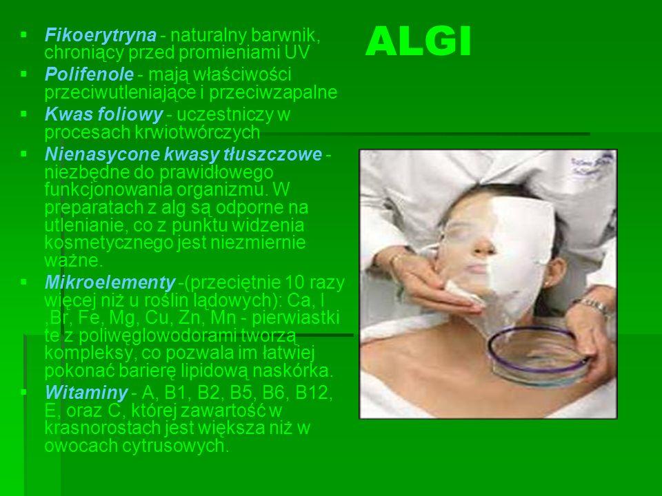 ALGI Fikoerytryna - naturalny barwnik, chroniący przed promieniami UV Polifenole - mają właściwości przeciwutleniające i przeciwzapalne Kwas foliowy -