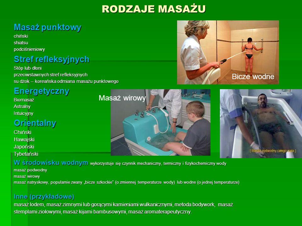 Warunki obowiązujące przy wykonywaniu masażu 7.