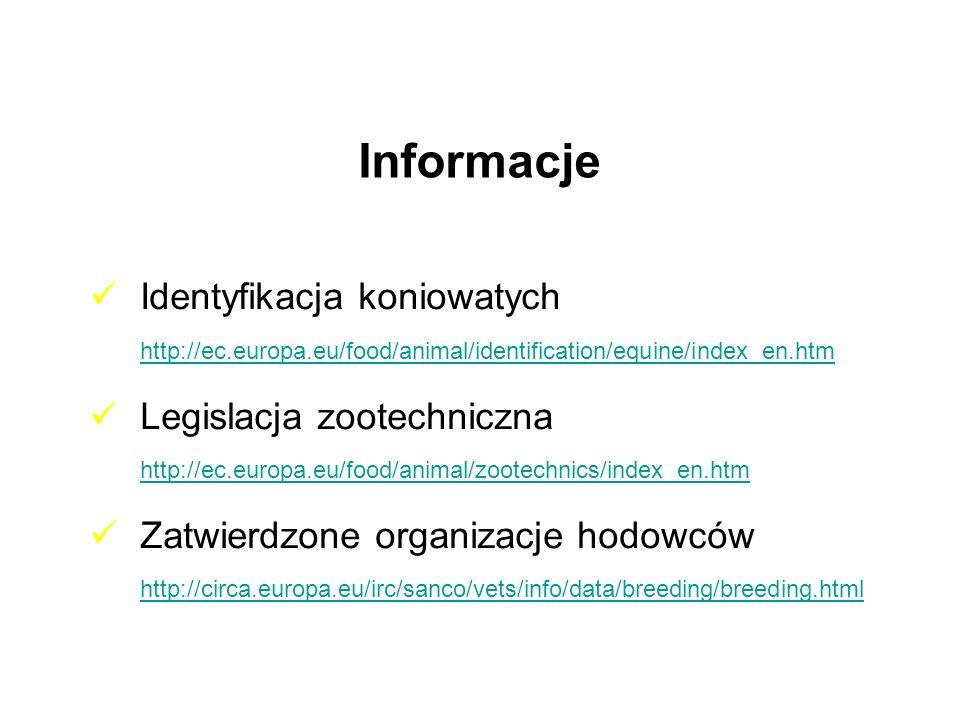 Informacje Identyfikacja koniowatych http://ec.europa.eu/food/animal/identification/equine/index_en.htm http://ec.europa.eu/food/animal/identification