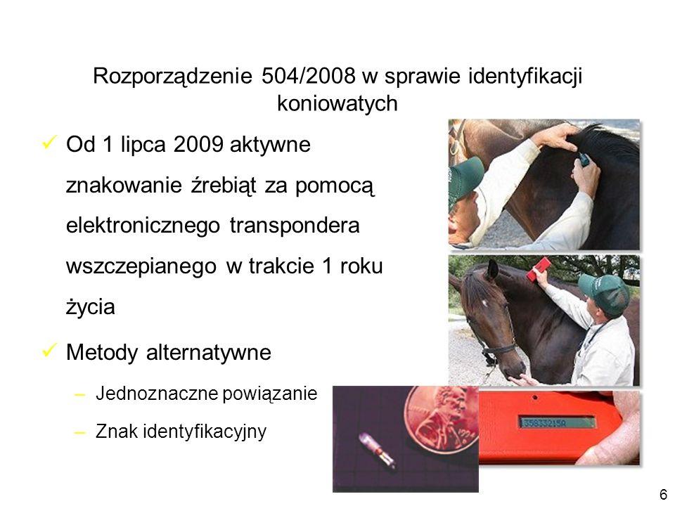 Od 1 lipca 2009 aktywne znakowanie źrebiąt za pomocą elektronicznego transpondera wszczepianego w trakcie 1 roku życia Metody alternatywne –Jednoznacz