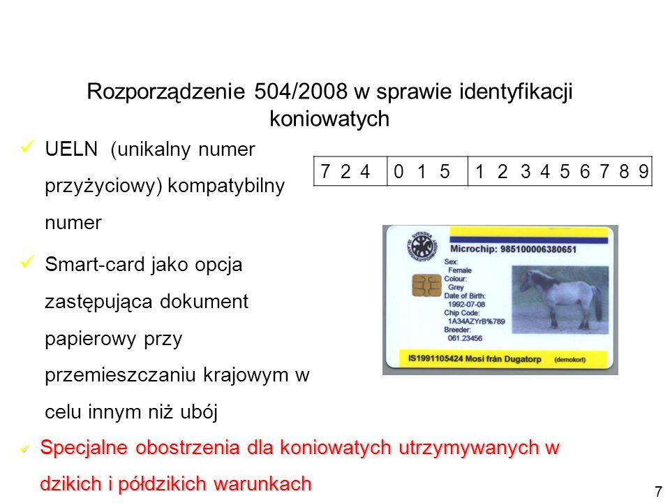 UELN (unikalny numer przyżyciowy) kompatybilny numer Smart-card jako opcja zastępująca dokument papierowy przy przemieszczaniu krajowym w celu innym n