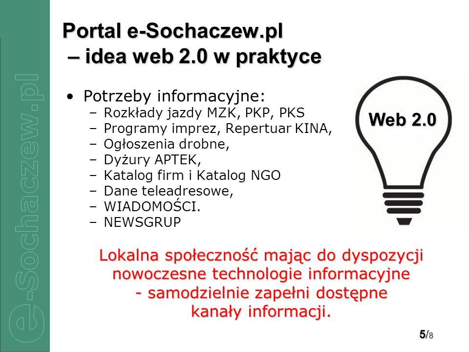 5/85/85/85/8 Portal e-Sochaczew.pl – idea web 2.0 w praktyce Potrzeby informacyjne: –Rozkłady jazdy MZK, PKP, PKS –Programy imprez, Repertuar KINA, –Ogłoszenia drobne, –Dyżury APTEK, –Katalog firm i Katalog NGO –Dane teleadresowe, –WIADOMOŚCI.