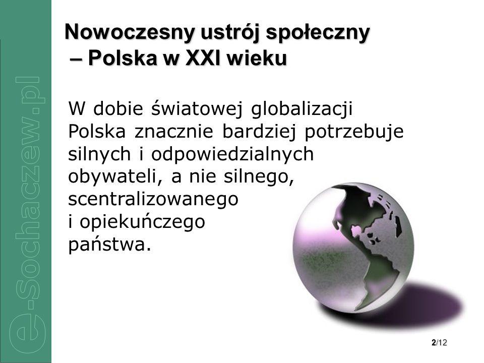 2/12 Nowoczesny ustrój społeczny – Polska w XXI wieku W dobie światowej globalizacji Polska znacznie bardziej potrzebuje silnych i odpowiedzialnych obywateli, a nie silnego, scentralizowanego i opiekuńczego państwa.