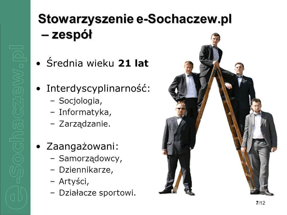 7/12 Stowarzyszenie e-Sochaczew.pl – zespół Średnia wieku 21 lat Interdyscyplinarność: –Socjologia, –Informatyka, –Zarządzanie. Zaangażowani: –Samorzą