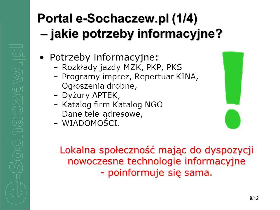 9/12 Portal e-Sochaczew.pl (1/4) – jakie potrzeby informacyjne? Potrzeby informacyjne: –Rozkłady jazdy MZK, PKP, PKS –Programy imprez, Repertuar KINA,
