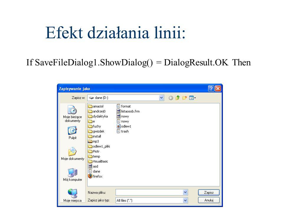 Efekt działania linii: If SaveFileDialog1.ShowDialog() = DialogResult.OK Then