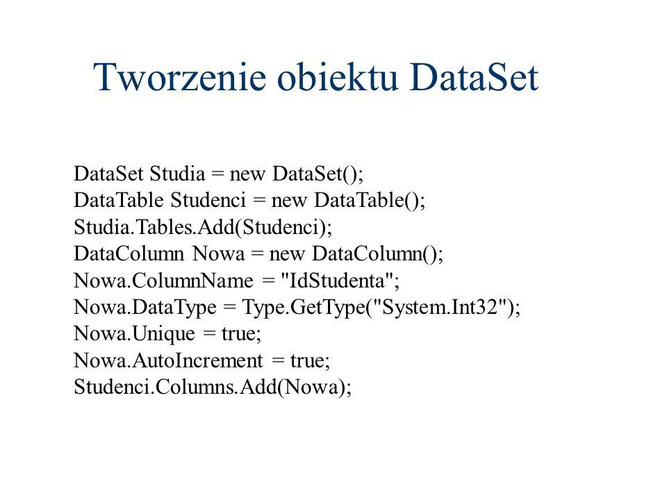 Tworzenie obiektu DataSet DataSet Studia = new DataSet(); DataTable Studenci = new DataTable(); Studia.Tables.Add(Studenci); DataColumn Nowa = new Dat