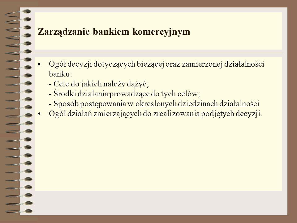 Otoczenie banku komercyjnego: 1. Konkurencyjne podmioty - ; 2. Polityka gospodarcza rządu, zwłaszcza fiskalna; 3. Stan budżetu państwa; 4. Polityka pi