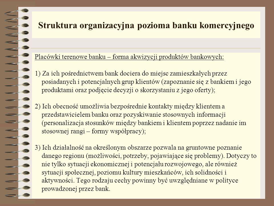 Struktura organizacyjna pozioma banku komercyjnego Przykładowe piony: 1) Departament polityki i planowania finansowego; 2) Departament analiz i progno
