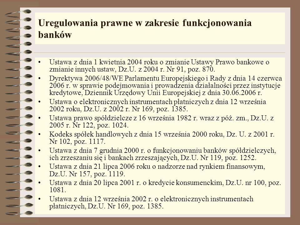 Uregulowania prawne w zakresie funkcjonowania banków Ustawa z dnia 1 kwietnia 2004 roku o zmianie Ustawy Prawo bankowe o zmianie innych ustaw, Dz.U.