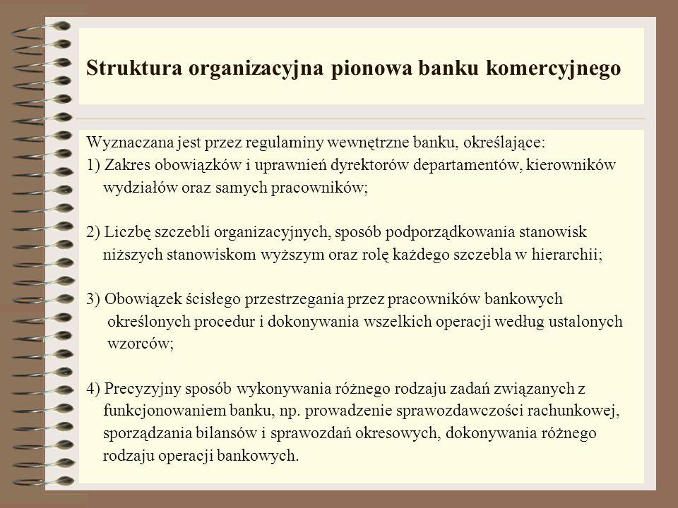 Struktura organizacyjna pozioma banku komercyjnego Rola placówek terenowych banku: - za ich pośrednictwem bank dociera do posiadanych i potencjalnych