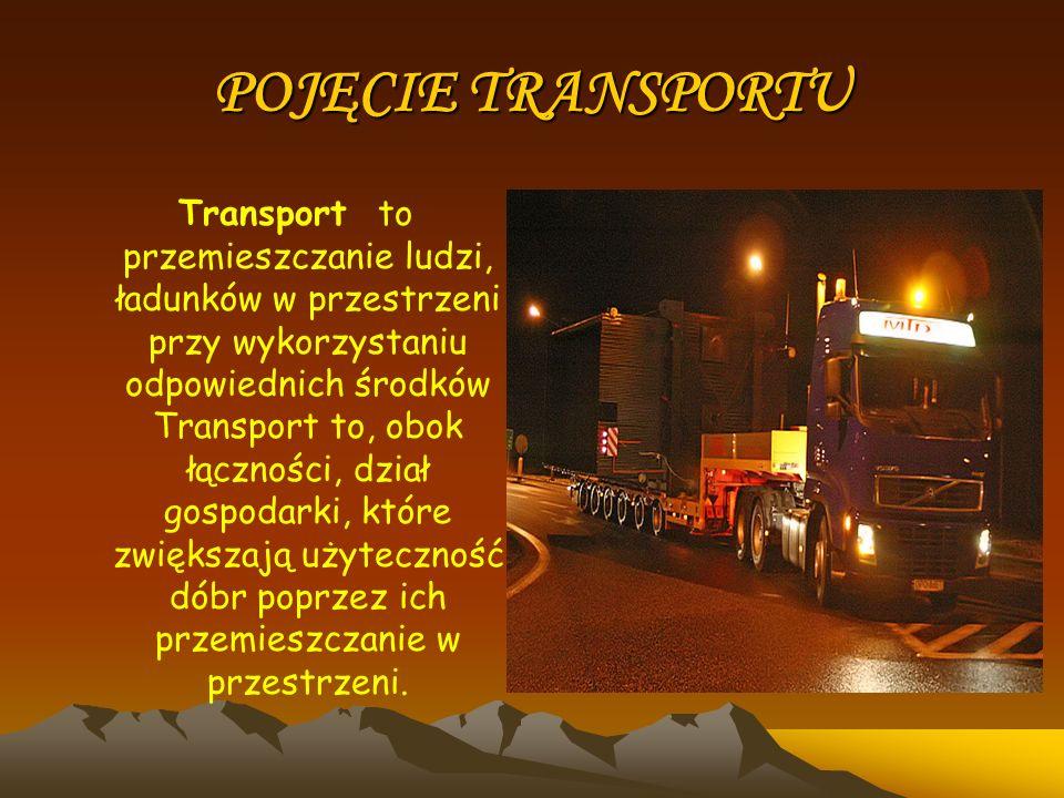 POJĘCIE TRANSPORTU Transport to przemieszczanie ludzi, ładunków w przestrzeni przy wykorzystaniu odpowiednich środków Transport to, obok łączności, dz
