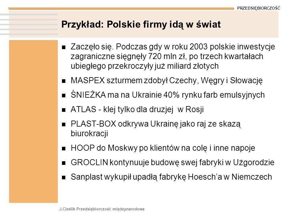 PRZEDSIĘBIORCZOŚĆ J.Cieślik Przedsiębiorczość międzynarodowa Przykład: Polskie firmy idą w świat Zaczęło się. Podczas gdy w roku 2003 polskie inwestyc