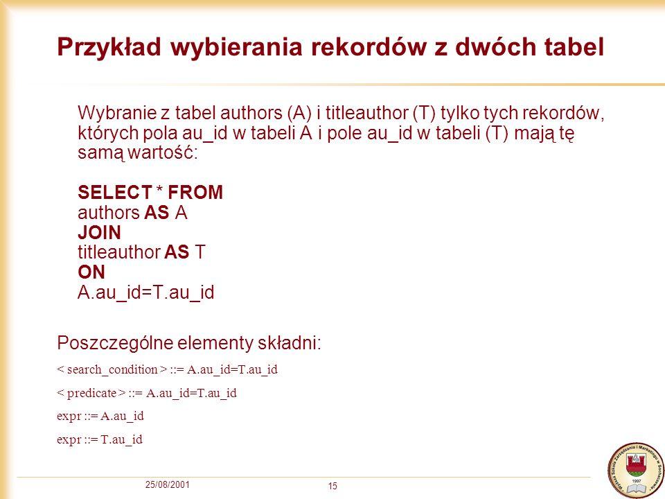 25/08/2001 15 Przykład wybierania rekordów z dwóch tabel Wybranie z tabel authors (A) i titleauthor (T) tylko tych rekordów, których pola au_id w tabe