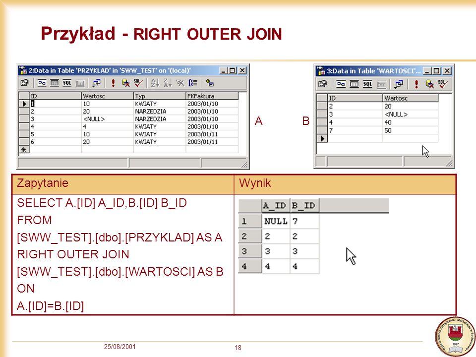 25/08/2001 19 Zagnieżdżanie zapytań (nesting queries) Wynik (zbiór rekordów) z zapytania może być użyty jako źródło rekordów dla innego zapytania.