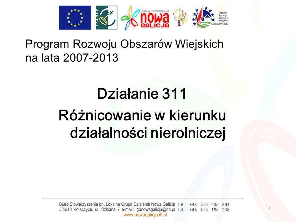 1 Program Rozwoju Obszarów Wiejskich na lata 2007-2013 Działanie 311 Różnicowanie w kierunku działalności nierolniczej
