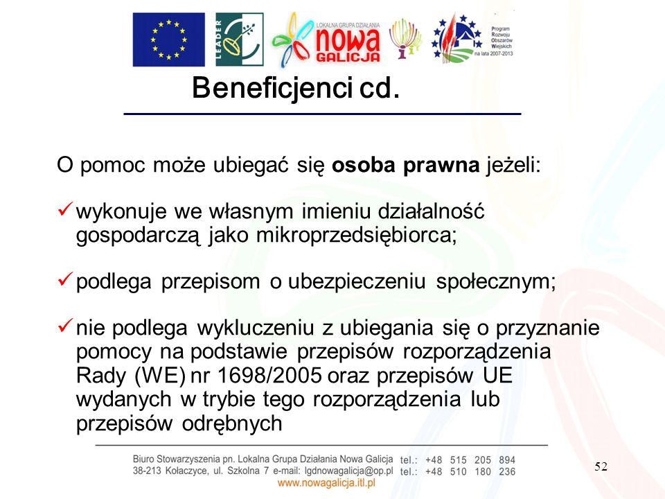 52 Beneficjenci cd. O pomoc może ubiegać się osoba prawna jeżeli: wykonuje we własnym imieniu działalność gospodarczą jako mikroprzedsiębiorca; podleg