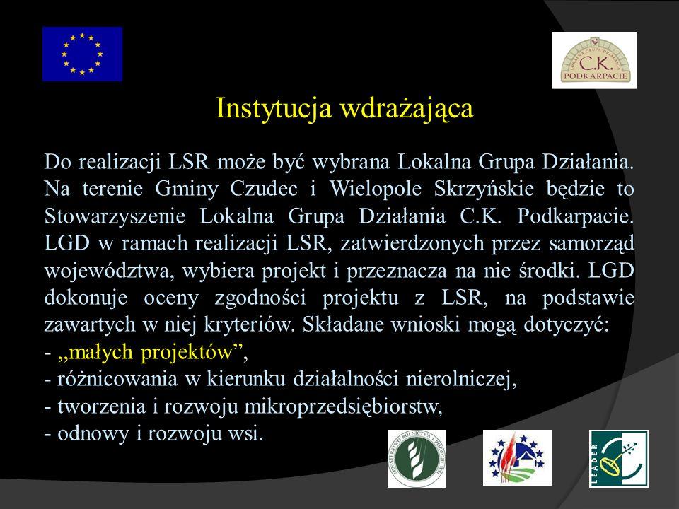 Instytucja wdrażająca Do realizacji LSR może być wybrana Lokalna Grupa Działania. Na terenie Gminy Czudec i Wielopole Skrzyńskie będzie to Stowarzysze