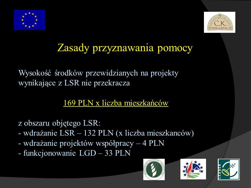 Zasady przyznawania pomocy Wysokość środków przewidzianych na projekty wynikające z LSR nie przekracza 169 PLN x liczba mieszkańców z obszaru objętego