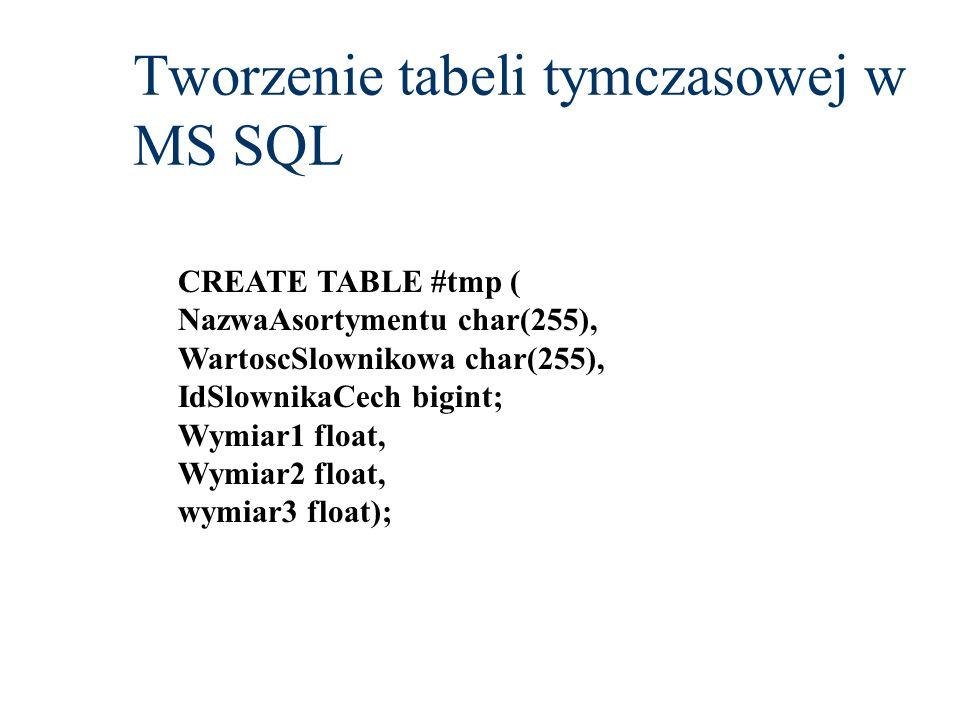 Tworzenie tabeli tymczasowej w MS SQL CREATE TABLE #tmp ( NazwaAsortymentu char(255), WartoscSlownikowa char(255), IdSlownikaCech bigint; Wymiar1 floa