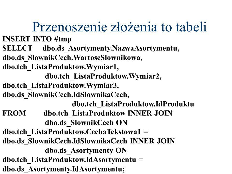 Przenoszenie złożenia to tabeli INSERT INTO #tmp SELECT dbo.ds_Asortymenty.NazwaAsortymentu, dbo.ds_SlownikCech.WartoscSlownikowa, dbo.tch_ListaProduk